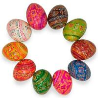 Set of 10 Colorful Ukrainian Wooden Pysanky Easter Eggs 2.25 Inches