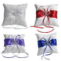 1pc Romantic Double Heart Wedding Pocket Ring Bearer Pillow Cushion Party Decor