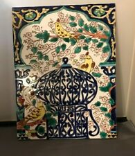 "Vintage Tile Mural Painted Bird Cage Birds Beautiful 13"" X 9 3/4"" One Huge Tile"