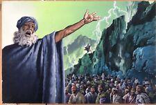 JEAN TORTON (Né en 1942) dit JERONATON Gouache Originale Scène biblique Moise #1