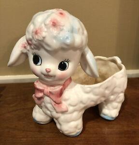 Vintage Ceramic Lamb Sheep Planter Japan #1410 Pink Bow