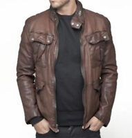 Mens vintage wrinkled waxed distress Brown Real Leather Jacket Coat Shirt