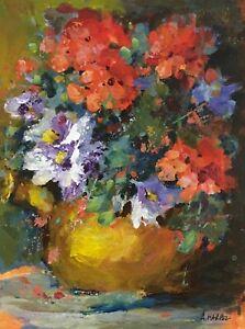 Original geranium daisy still life floral acrylic painting impressionism