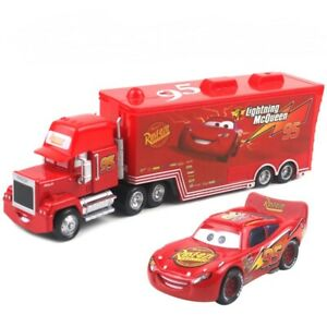 Disney Pixar Cars Lightning McQueen Mack Truck & Car 1:55 Diecast Toys Car Loose