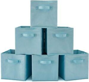 EZOWare Set of 6 Foldable Cube Storage Box, Organiser Basket Containers - L-Blue