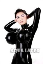 Unisex Rubber Latex Catsuit with Inflatable Breasts Bosom