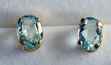 Aquamarine Earrings  6 x 4 mm Faceted Ovals  Post & Nut  18K/SS  .96cts.