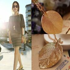 New Vintage Charm Golden Leaf Pendant Necklace Long Sweater Chain Lady Hot Gift