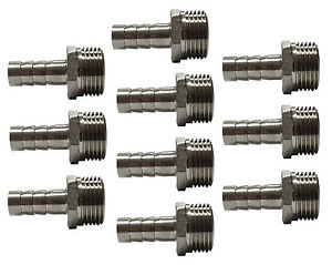 """8mm Push On Hose Tail Fittings with 3/8"""" BSP Thread Water Fuel Gas AC (10 Pack)"""