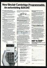 1977 Sinclair Cambridge Programmable computer calculator photo vintage print ad