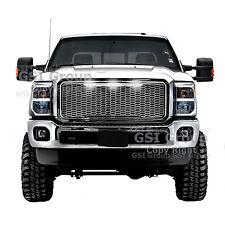 11-16 Ford Super Duty Raptor Style Chrome Mesh Grille+Shell+White 3x LED light