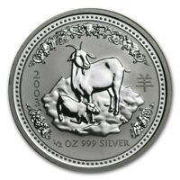 2003 Australia 50 Cents Series 1 Lunar Year of the Goat 1/2 oz Silver BU Coin