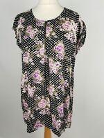 Masai Black Floral Smock Tunic Blouse Top Plus Size L 16
