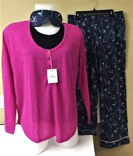 Victoria's Secret Pajamas Ski Girl Large The Dreamer Henley Sleep Set Navy Pink