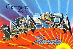 Greetings From Sarasota, Florida, Air-Conditioned 1930's Vintage Postcard Poster
