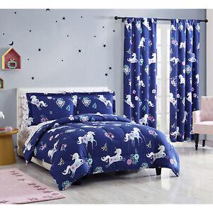 Twin Full Queen Unicorn Comforter Bedding Set Sheets, Window Curtains, Navy Blue