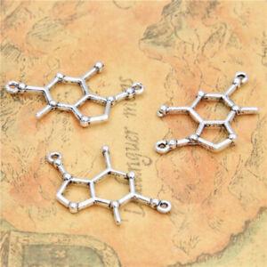 15pcs Theobr-omine Chocolate Molecule Charms Antique Silver Pendants 25X20mm