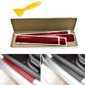 4X 3D Carbon Fiber Styling SUV Car Door Threshold Sticker Scratch Guard Kit NEW