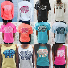 Summer Womens Elephant Print T Shirt Casual Ladies Boho Blouse Tank Tops Shirts