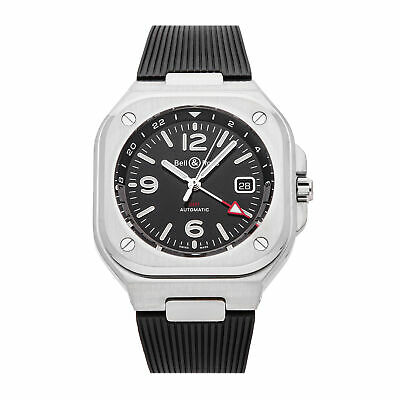 Bell & Ross BR-05 GMT Auto Steel Mens Strap Watch Date BR05G-BL-ST/SRB