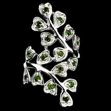 Natural GEM 2 Mm Top Rich Green Chrome Diopside 14K ON 925 Sterling Silver Ring8
