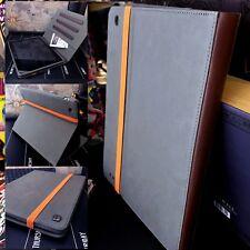 iPad 2 & 3  Retro Cover Grey Folio Book Case & Multi Angle Stand
