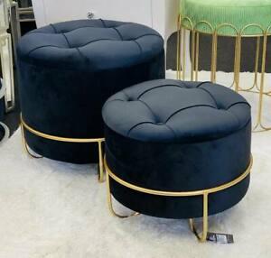Premium Handmade Storage Ottomans Set of 2 Velvet Chairs With Gold Base - Black