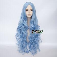 Light Blue  Long Curly Lolita Heat Resistant 80cm Women Cosplay Party Wig+Cap