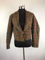 Vintage Mixed Blues Womens Western Blazer Jacket M Wool Brown Aztec Blend USA