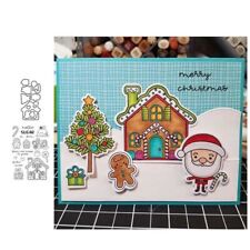 Xmas Ice House Metal Cutting Dies Clear Stamp Diy Scrapbook Card Making Crafts