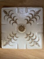 Vtg Clear Frosted Square Glass Ceiling Fixture Light Shade Flush Leaf Floral 14""