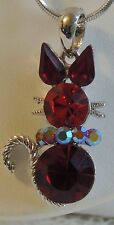 Stunning Red Faceted Rhinestones Cabochon CAT Pendant Silver Snake Chain