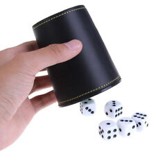 "New 3.5"" Tall Synthetic Leather Dice Cup and 5 Poker Dice w/ Rounded Corners"