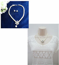 Beautiful Ivory Pearl Necklace and Dangle Earring Set with Diamante Bridal Prom