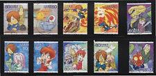JAPAN 2009 ANIMATION HERO 9TH ISSUE GEGEGE NO KITARO COMP. SET OF 10 STAMPS USED