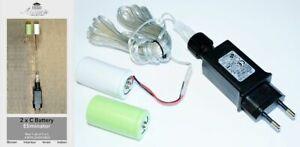 Batterie Netzteil Adapter 2x C Baby Batterien 3,2V Wandler 4m Kabel Netzteil