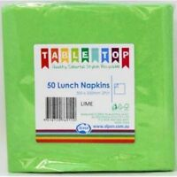 LIME GREEN LUNCH NAPKINS PACK OF 50 BIRTHDAY PARTY TABLEWARE SUPPLIES