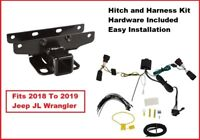 2018-2020 Jeep JL Wrangler 2 Inch Trailer Receiver Hitch Kit Flat Four Harness