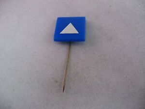 Vintage Foreign Advertising Hat Stick Pin: Blue Square White Triangle