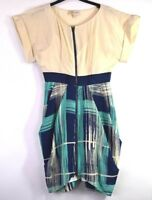 Frock by Tracy Reese Womens 6 Short Roll Up Sleeved Silk Zip Up Dress Beige Blue