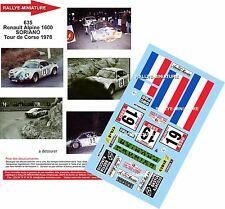 DECALS 1/24 REF 635 ALPINE RENAULT A110 SORIANO TOUR DE CORSE 1978 RALLYE RALLY