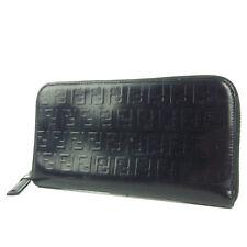 Auth FENDI Zucca Zucchino Logos Leather Zip Around Wallet Purse F/S 2434