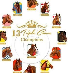 NEW! 13 Triple Crown Winners Limited Edition Horse Racing Art Print SFASTUDIO