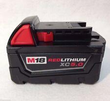 (1) MILWAUKEE 48-11-1850 18V RED LITHIUM LI-ION BATTERY (M18B5X)