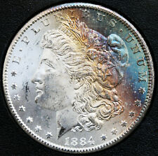 1884-CC Morgan Silver Dollar NGC GSA MS64 Star Rainbow, Box and COA