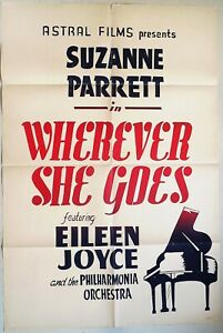 Wherever She Goes 1951 Eileen Joyce, young Suzanne Parrett! Original US Poster