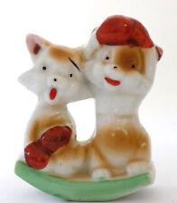Vintage Cats with Boxing Gloves Ceramic Ink Rocker Blotter Japan