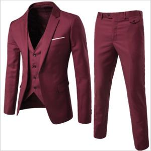 3pcs/set Mens Dress Formal Suits Slim Fit Bridegroom Blazers Wedding Outfit Plus