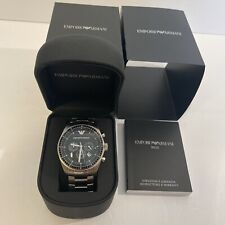 Armani Watches AR0585 Classic Stainless Steel Mens Chronograph Watch NIB NEW