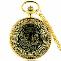 Antique Dragon Pattern Quartz Pocket Watch Necklace Pendant Chain Retro Vintage